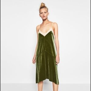 Zara Velvet Green Dress Size S